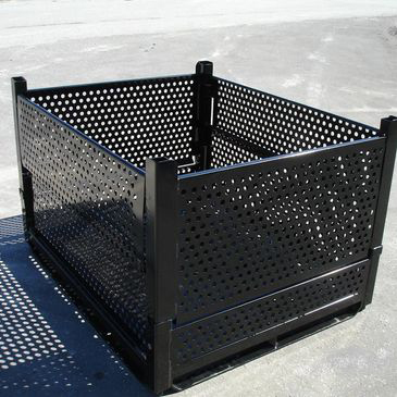 Steel bin that has collapsible sides